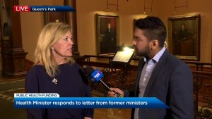 Christine Elliott responds to former Ontario health ministers' calls to reverse cuts